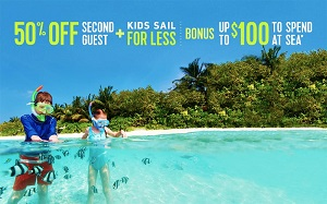 Royal Caribbean International® 50% Off Second Guest + Kids Sail for Less + up to $100 to Spend