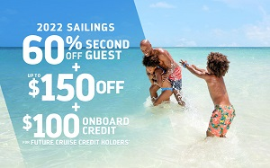 Royal Caribbean International - 60% off Second Guest + up to $150 Off + $100 Onboard Credit for Future Cruise Credits on 2022 Sailings